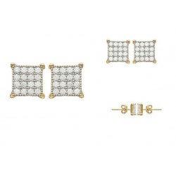 Boucle D'oreilles Pavé Oxyde De Zirconium Plaqué Or 18Carats  Bijoux Femme