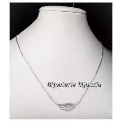 """Collier tendance """"PLUMES"""" Argent Massif Rdodié 925/1000 ZIRCONIUM Bijoux Femme"""
