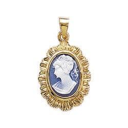Pendentif Camé Bleu En Plaqué Or 18 Carats Garanti 10 Ans Bijoux Femme