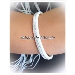 Bracelet Jonc  En Pure Céramique Blanche  Rang Zirconium Bijoux Femme