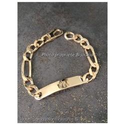 Bracelet Gravure Identité Figaro 22CM X 1CM Plaqué or 18 Carats 750/1000 Bijoux