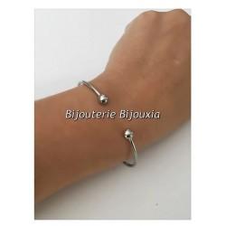 Bracelet Jonc ouvert BOULES  Acier Inoxydable 316L  Ajustable  Bijoux Femme