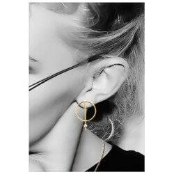 Boucles d'oreilles Originales Anneaux Oxyde de Zirconium Plaqué or 18 Carats