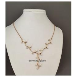 Collier Branches 17 Cristaux ZIRCONIUM Plaqué Or 18 carats 750/1000 Bijoux femme