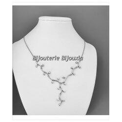 Collier Branches 17Cristaux ZIRCONIUM Argent Massif  925/000 Rhodié Bijoux femme