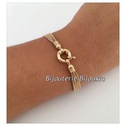 Bracelet Multi Chaînes Maille Serpent Plaqué or 18 CARATS 750/1000 Bijoux Femme