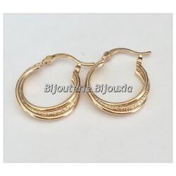 Boucles D'oreilles Petites Créoles  Plaqué Or 18 carats 3 microns Bijoux Femme