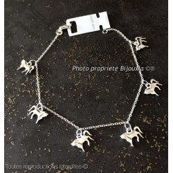 Bracelet petits Chevaux Pendants Argent Massif 925/1000  Bijoux Femme