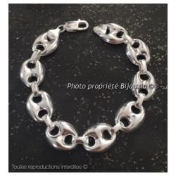 Bracelet Grain De Café 1,4 CM  LARGE Bombé  Argent Massif 925/1000 Homme