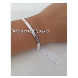 Bracelet Maille Plate Miroir En Argent Massif 925/000 Rhodié Bijoux Femme