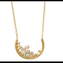 Collier Croissant de lune Oxyde de Zirconium Plaqué or 18 CARATS Bijoux femme