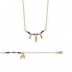 Bracelet  avec plumes et pierres de couleur Plaqué or 18 CARATS Bijoux femme