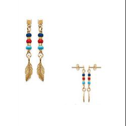 Boucles d'oreilles plumes et pierres de couleur Plaqué or 18 Carats Bijoux femme