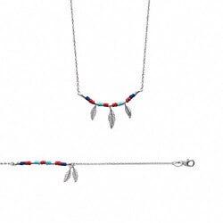 Collier avec plumes et pierres de couleur Argent massif 925/1000 Bijoux femme