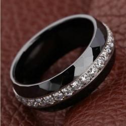 Bague alliance céramique Noir T56 Cristaux Oxyde Zirconium Argent Bijoux femme