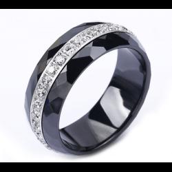 Bague alliance céramique Noir T.54 Cristaux Oxyde Zirconium Argent Bijoux Femme