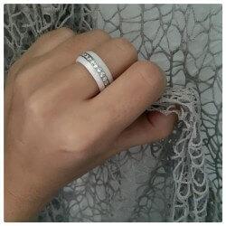 Bague alliance céramique Blanc T51/52 Cristaux Zirconium Argent Bijoux Femme