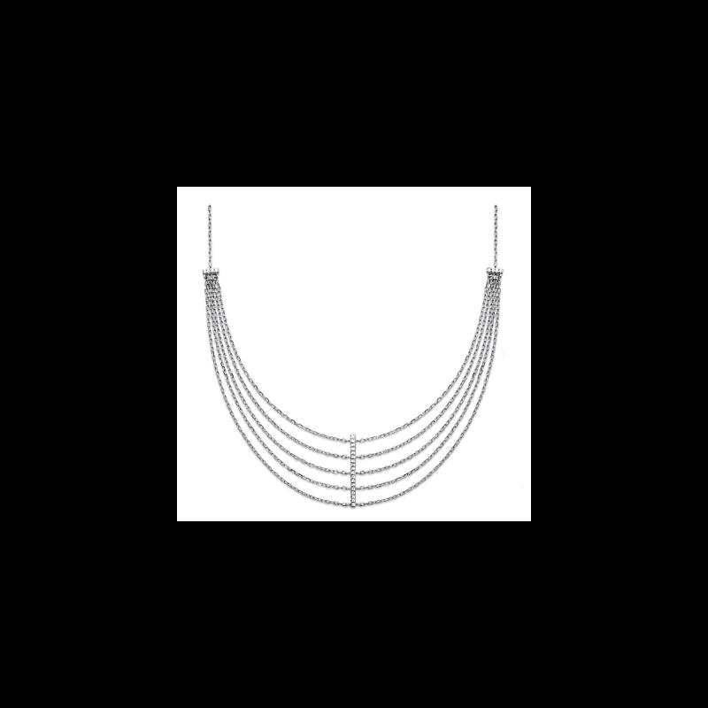 Collier Multi RANGS Chaînes  Zirconium Argent 925/1000 Rhodié Bijoux Femme