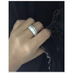 Bague alliance épaisse céramique Blanc T60 Cristaux Zirconium Bijoux Femme