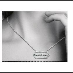 Collier Hexagone 6 Cristaux ZIRCONIUM Argent 925/1000 Rhodié Bijoux Femme