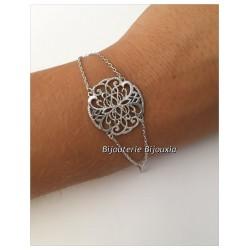 Bracelet Moderne Pendentif Arabesque Argent Massif 925/1000  Bijoux Femme