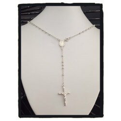 Collier Chapelet Pendentif Croix Jésus en Argent Massif 925/000 Bijoux Neuf