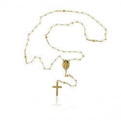 Collier Chapelet 72 cm Vierge Marie Pierres Bleu Plaqué Or 18 Carats Bijoux