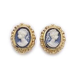 Boucle D'oreilles Camé Bleu Plaqué Or 18 Carats Garanti 10 Ans Bijoux Femme