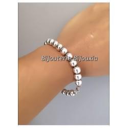 Bracelet Maille boules  8 mm X 20CM En Argent Massif 925/1000 Bijoux Femme Neuf