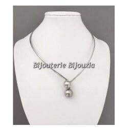 Collier ras de cou Rigide Boules Argent Massif 925/1000 Rhodié Bijoux Femme NEUF