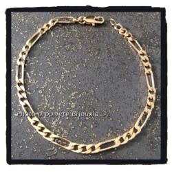 Bracelet Maille Figaro 18cm x 3,5 mm Plaqué or 18 Carats Garanti 10 ans Bijoux