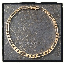 Bracelet Maille Figaro 21cm x 3,5 mm Plaqué or 18 Carats Garanti 10 ans Bijoux