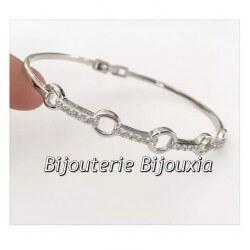 Bracelet Jonc Cercles Zirconium Ouvrable Argent Massif 925/1000 - Bijoux Femme