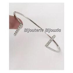 Bracelet Jonc Ouvert ZIRCONIUM Argent Massif 925/1000 Rhodié  Bijoux Femme