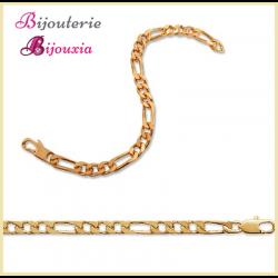 Bracelet Maille Figaro 21 cm x 4 mm Plaqué or 18 Carats Garanti 10 ans Bijoux