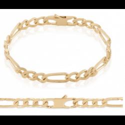 Bracelet Maille Figaro 21 cm x 5 mm Plaqué or 18 Carats Garanti 10 ans Bijoux