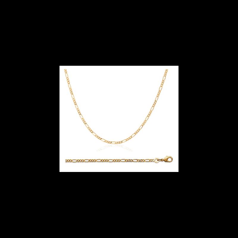Chaîne Fine Maille Figaro 70 cm x 2,20mm  Plaqué or 18 Carats 750/1000 Bijoux