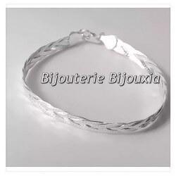 Bracelet Maille Tressée 3 fils Argent Massif 925/000 Bijoux Femme NEUF