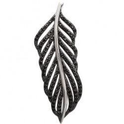 Magnifique Pendentif Feuilles Zirconium Noir Argent Massif 925/1000 Bijoux Femme