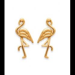 Boucle D'oreilles Flamant rose Plaqué or 18 CARATS 750/1000 Bijoux Femme