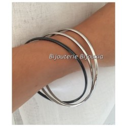 Bracelet 3 JONCS entrelacés Acier inoxydable et Céramique couleur noir BIJOUX