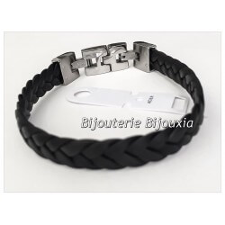 Bracelet CUIR Tressé et Acier Inoxydable 316L - 21 CM - Bijoux MIXTE- NEUF