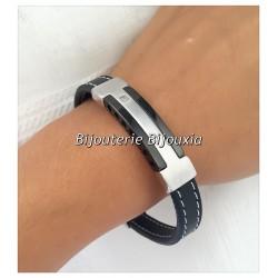 Bracelet CUIR et Acier Inoxydable 316L - 21 CM - Bijoux  Homme NEUF