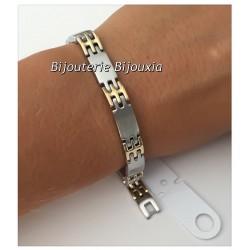 Bracelet Homme Bicolore  Acier inoxydable 316L et Plaqué or 18 Carats Bijoux