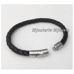 Bracelet CUIR et Acier Inoxydable 316L - 6,6 CM - Bijoux Homme - NEUF
