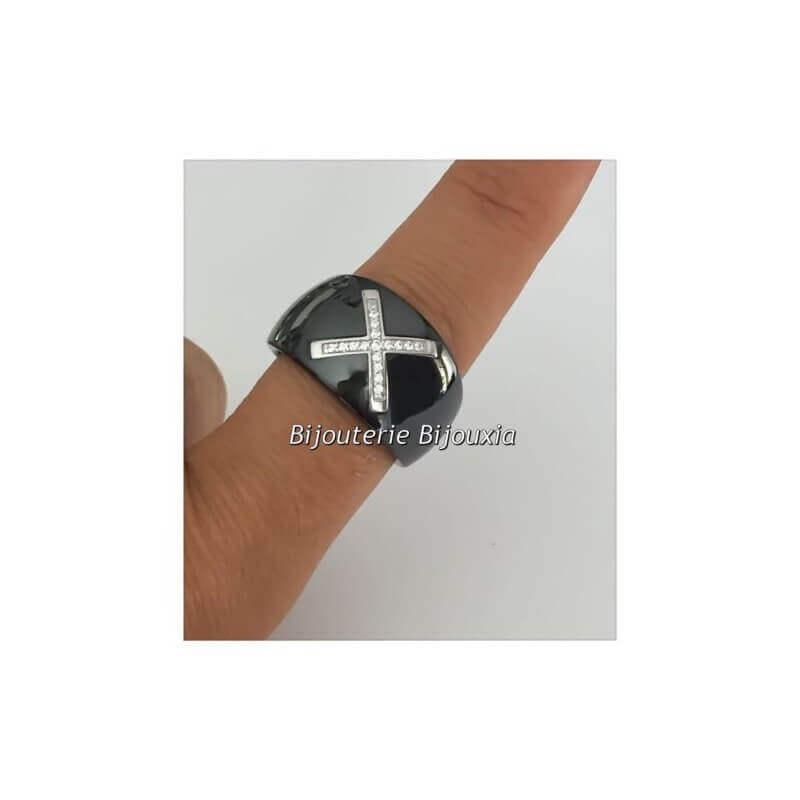 Bague Large Céramique Noir T54 CROIX Zirconium Argent Massif 925/1000 Bijoux
