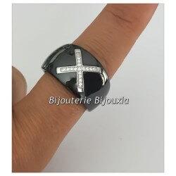 Bague Large Céramique Noir T56 CROIX Zirconium Argent Massif 925/1000 Bijoux