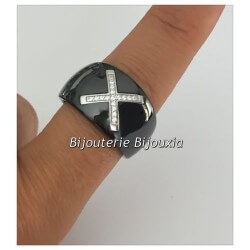 Bague Large Céramique Noir T58 CROIX Zirconium Argent Massif 925/1000 Bijoux