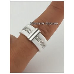 Bague Large Céramique Blanche T58 Zirconium Argent 925/1000 Poinçon Bijoux