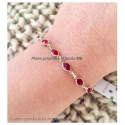 Bracelet cristal De Swarovski couleur RUBIS Plaqué Or 18 Carats Bijoux Femme